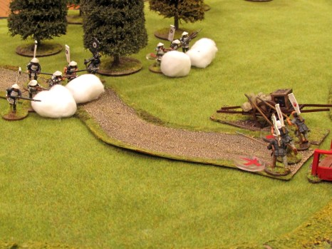 Fire! Smoke blankets the line as the ashigaru fire a volley from their guns...