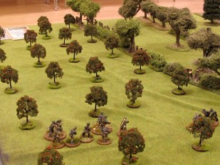Brits actually moving up on their right flank, but there's a fresh German squad with a SL in the orchard