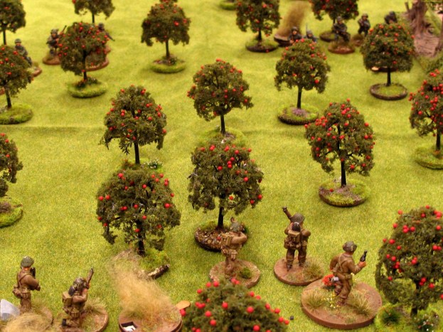 The infantry trade fire in the orchard