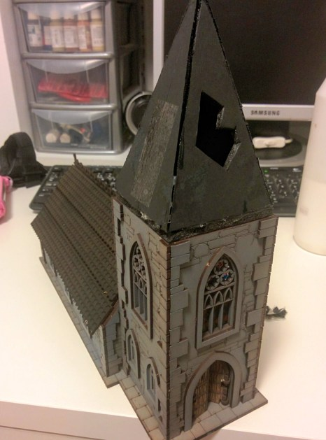 New steeple built of foamcore. You can also see the original texture of the main roof.