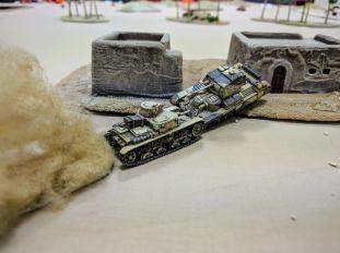 Crunch! Nobody told this Italian not to ram bigger, heavier tanks!