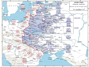A map of eastern Europe showing the front lines before and after the offensive
