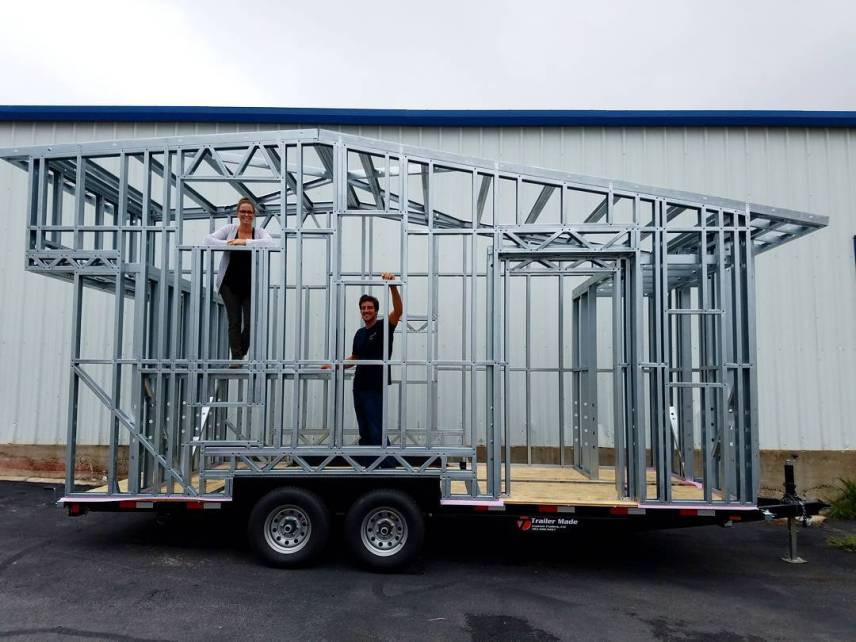 Build a Small House Gooseneck Trailer in the yard