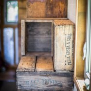 Crates double as display shelves and storage
