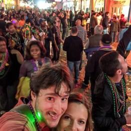 Walking in Burbon St Mardi Gras
