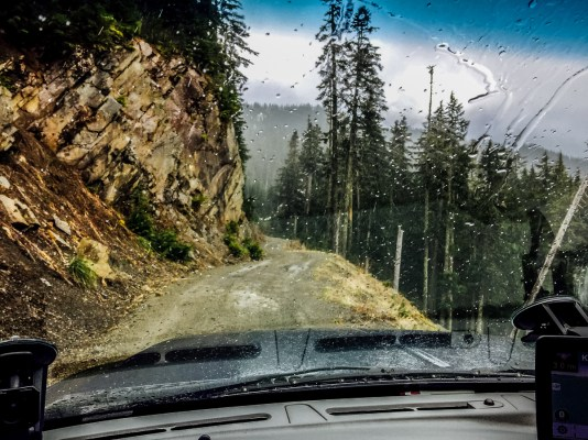 Snow & Hail on the bumpy ride to the trailhead