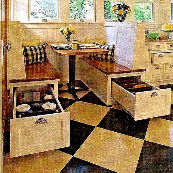 Kitchen Booth Plans: Space Saving Booth Style Kitchen Seating/Dining