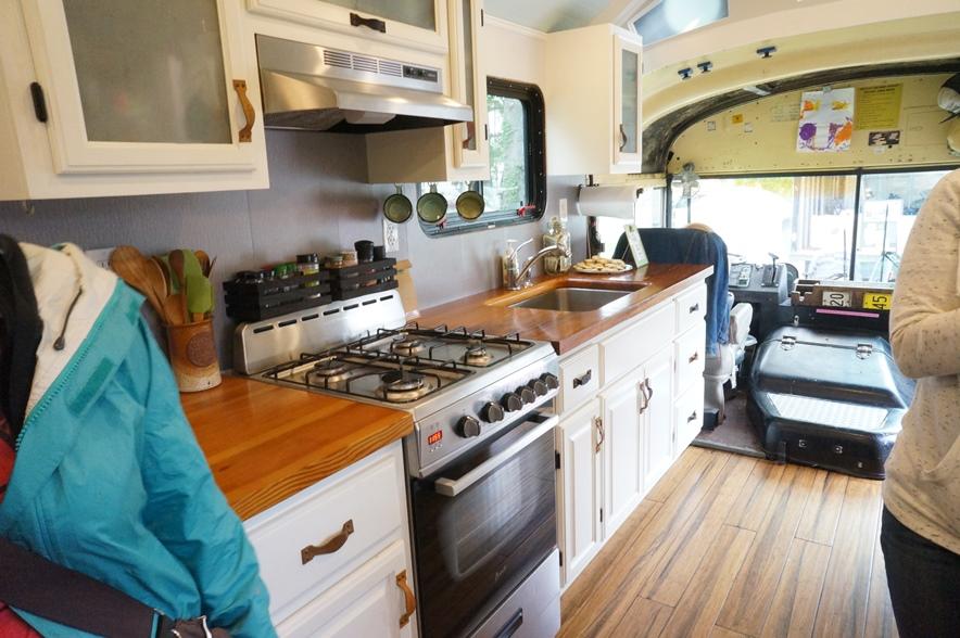 school bus conversion kitchen