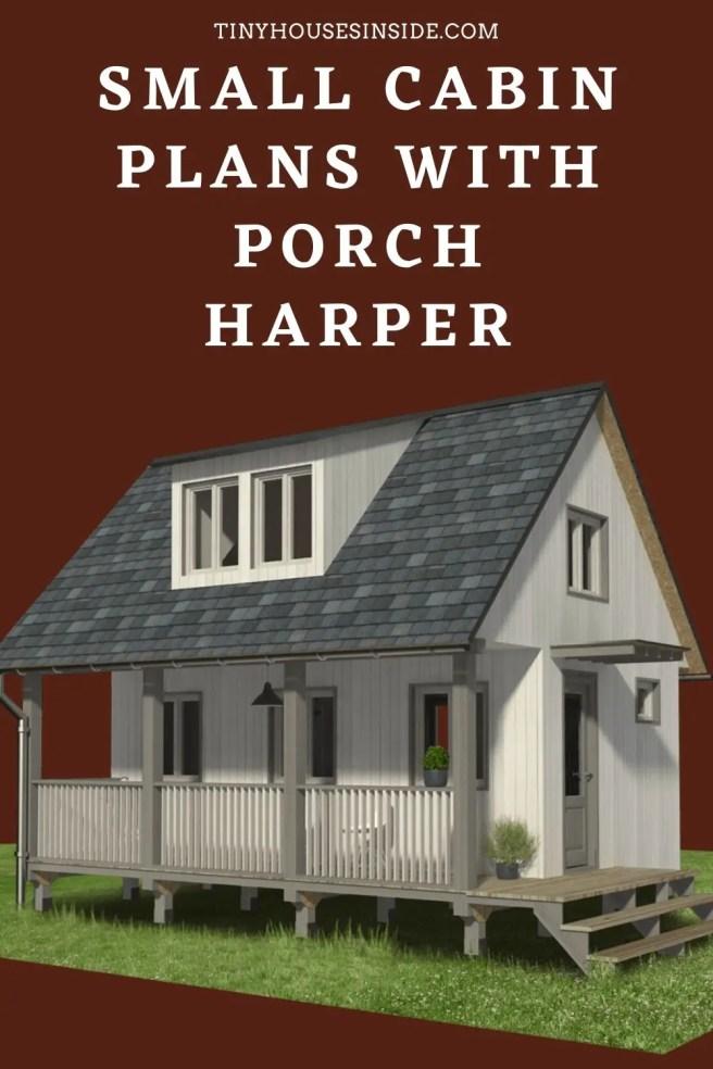 Small Cabin Plans with Porch Harper loft