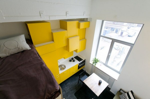 View of the Kitchenette and Bright Yellow Kitchen Cabinets