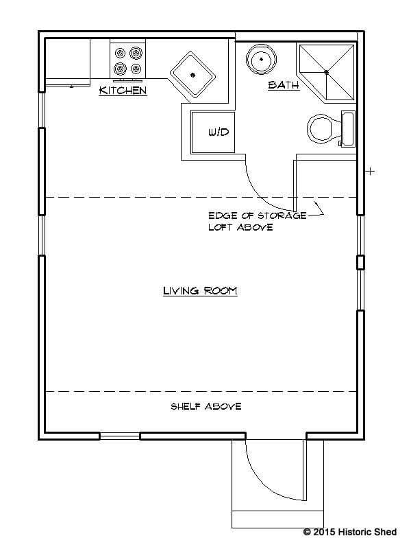 Historic Shed Tiny Cottage Floor Plan 320 sq. ft.