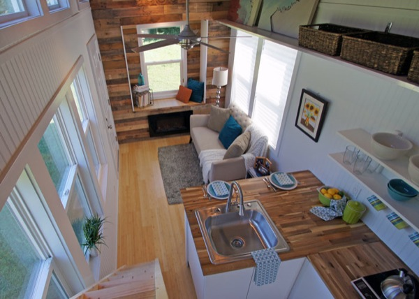 living room in tiny home