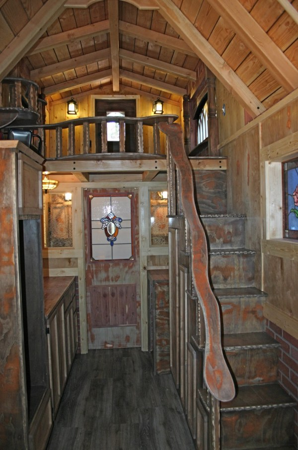 1904 Rustic Vintage Tiny House with Loft Balcony 005