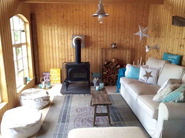 fireplace inside cottage