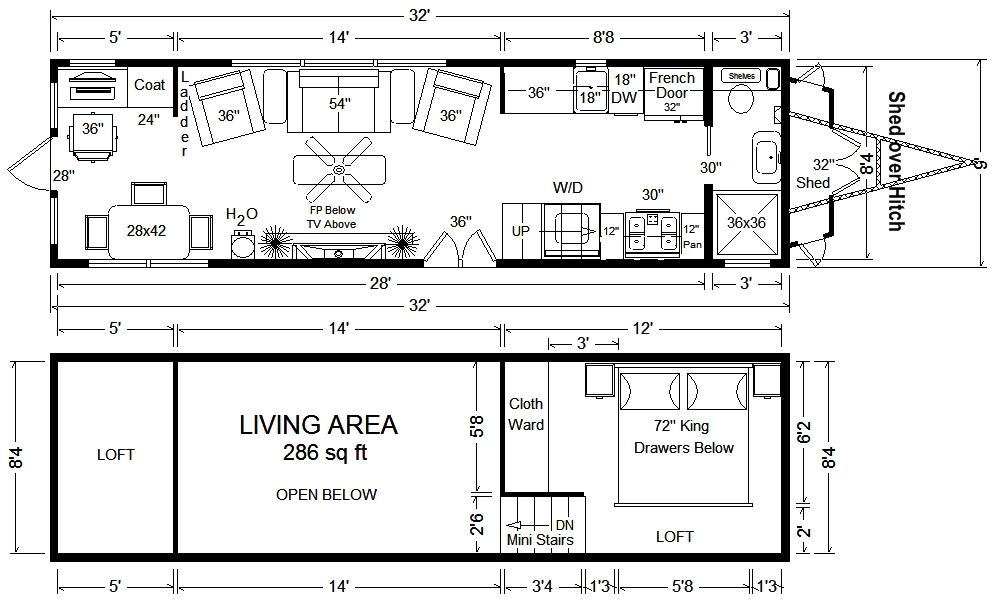 32-tiny-house-floor-plan Tiny House On Wheels Plans Pulled By Suv on