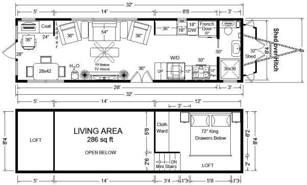 32 tiny house floor plan - Tiny House Plans On Wheels
