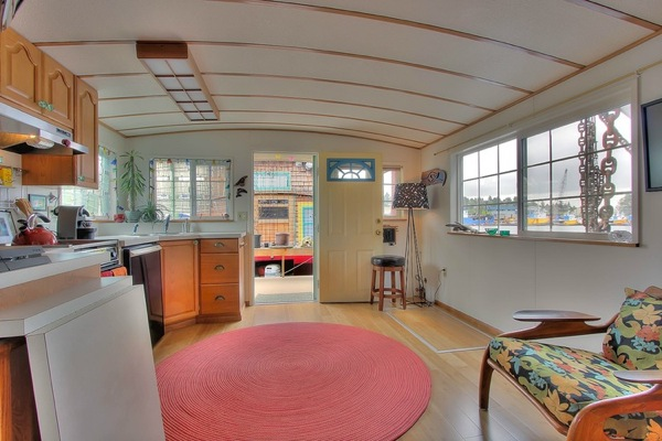 inside 360 sq. ft. houseboat