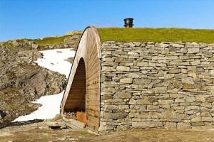 outside hobbit cabin