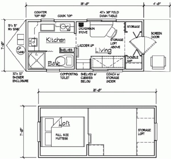 8x22 tiny cabin floor plan