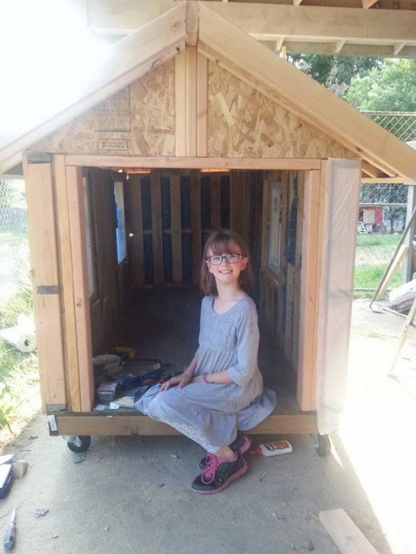 9 year old builds micro house