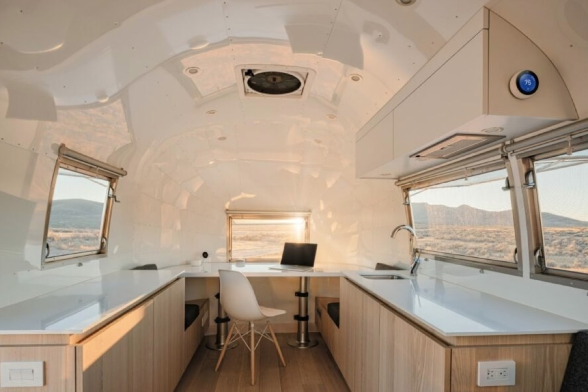 Rare Bambi Airstream Turned Into 80 Sq Ft Mobile Office