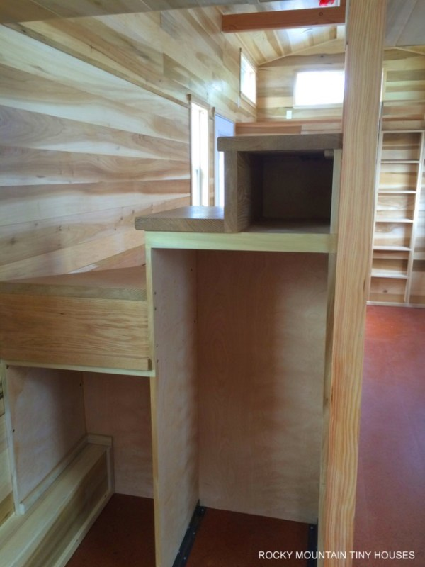 Built in Storage in the Bayfield THOW on the other side of the Staircase
