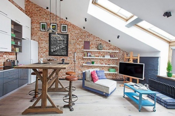 Loft Living Room with Brick Walls and Skylights