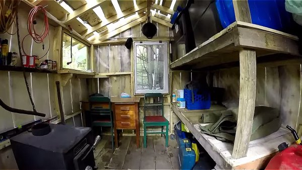Father and Son Build 160 Dollar Bunkhouse Cabin 002