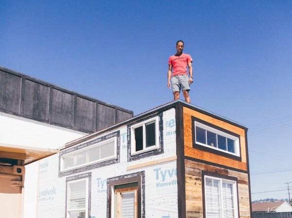 Man Building Cheap DIY 200 sq ft Tiny Home on Wheels 006