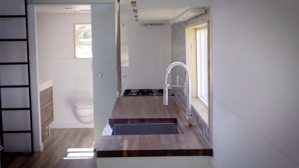Modern Tiny Home with Staircase to Loft, Dual Sinks in Bathroom ...