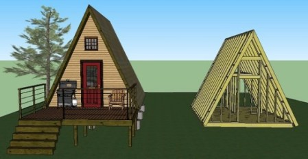 14 x14  Tiny A frame Cabin Plans by LaMar Alexander Simple Solar Homesteading