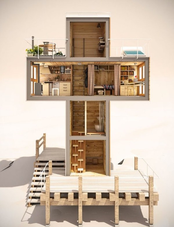 Spiritual-Cross-Shaped-Off-Grid-Tiny-Cabin-Design-003