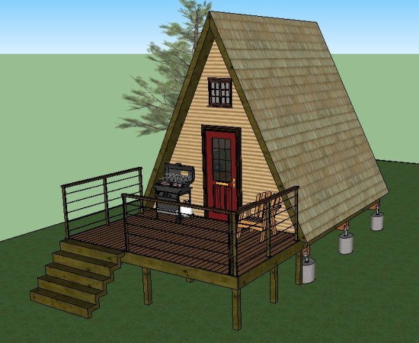 14 39 x14 39 tiny a frame cabin plans by lamar alexander for Solar cabin plans