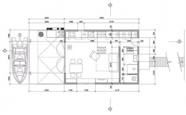 Tiny Floating Home in Prague Floor Plan 01