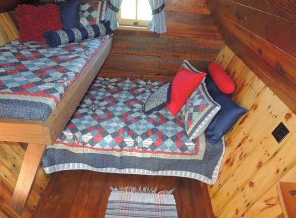 Beds inside the Tiny Whimsical Rustic Guest Cottage