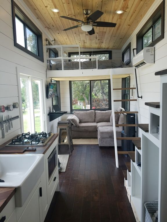 two waterfront tiny homes on lake travis. Black Bedroom Furniture Sets. Home Design Ideas