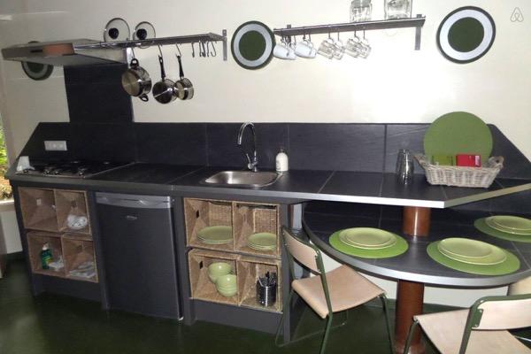 kitchen in yurt