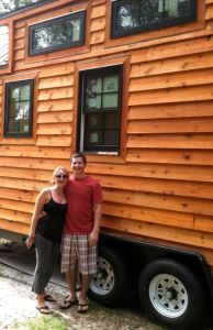 Alex and Andrea next to Dan Louche's Tiny Living House