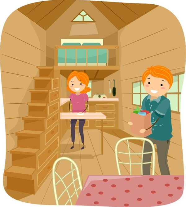 Illustration of a Couple Living in a Cute Tiny House Going About Their Daily Tasks