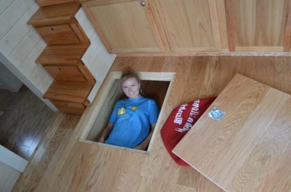 secret floor storage in tiny house