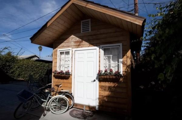 outside cozy cabin in urban LA