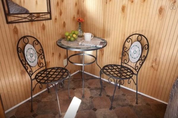 bistro table inside micro cabin