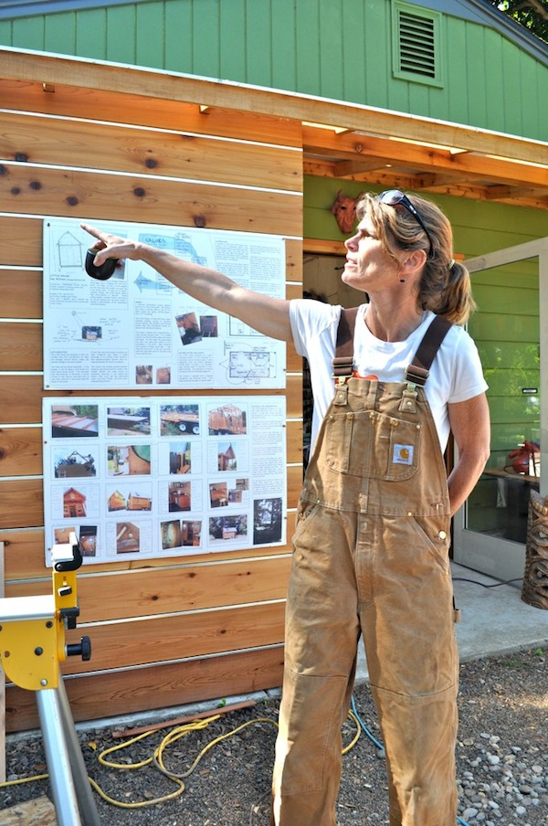 Dee Williams showing students construction concepts for tiny houses