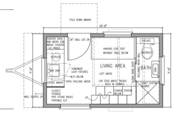 denise eissler 8x12 tiny house design 007 - 8x12 Tiny House On Wheels Plans