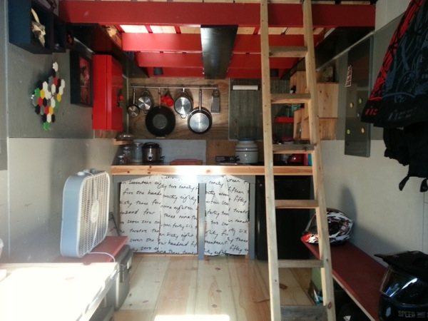 Interior of Ethan's DIY Tiny House