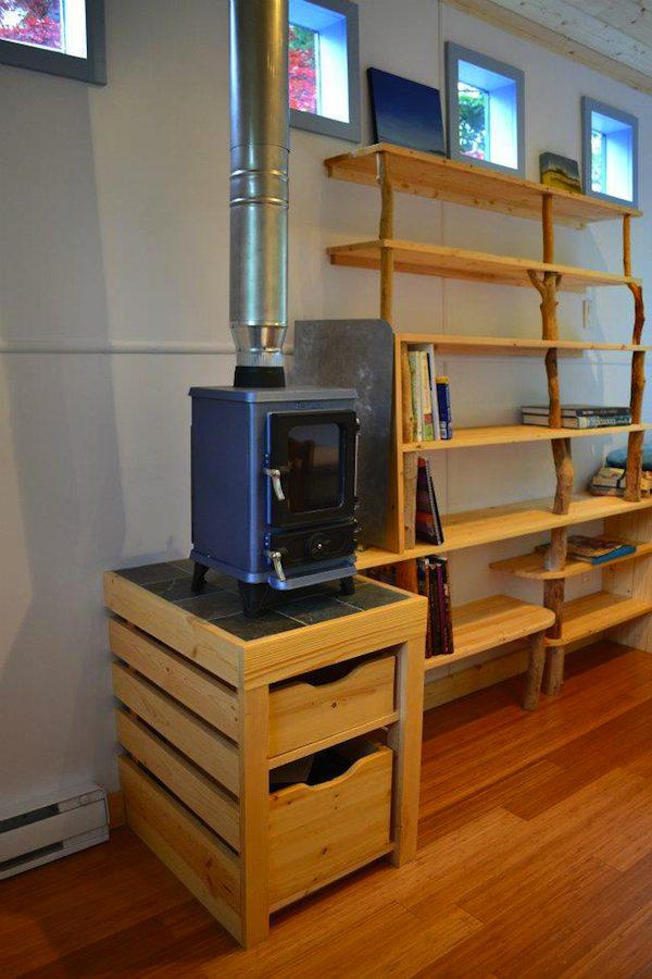 Wood Stove Inside Tiny House on a Trailer by Hornby Island Caravans