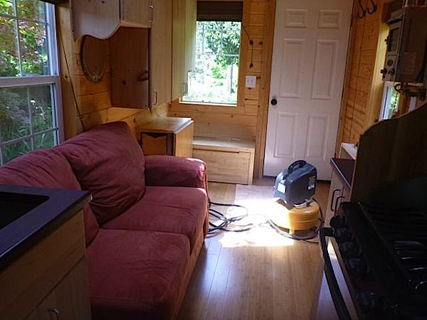 Interior living area inside Tiny Home on Wheels