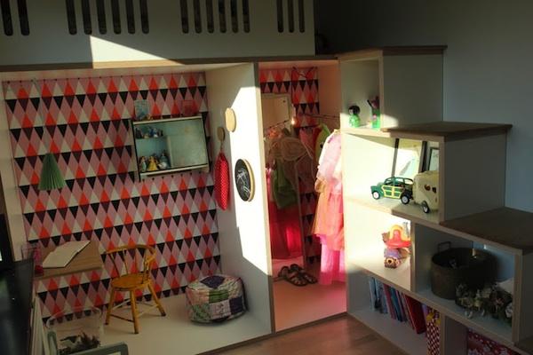 Kids' multifunctional playroom study dress up shelving sleeping loft all in one room
