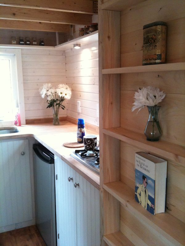 Kitchen and Shelving inside Fencl Tiny Home