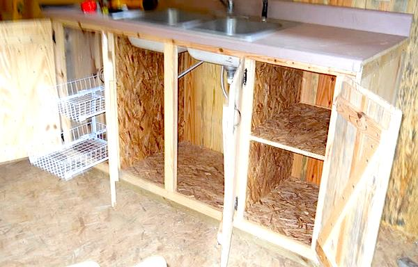 Sink and Countertops in Small Cabin found on Craigslist